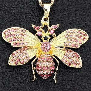 Betsey Johnson Pink Crystal Rhinestone Necklace